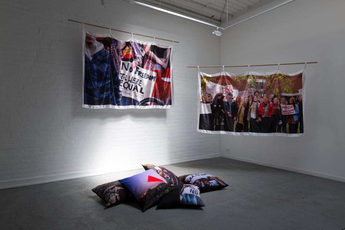 Protest drape install